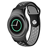 FUNKID Band for Samsung Gear S2 Smartwatch SM-R720/R730 Replacement Strap with Stainless Metal Adapters Connecter Black Gray