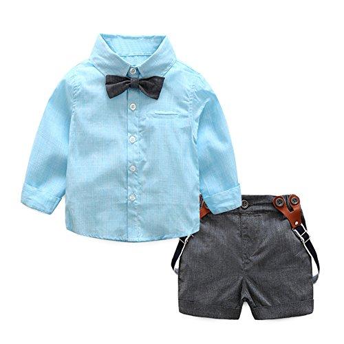 Baby Boys Gentlemen Bowknot Rompers Long Sleeve Bodysuit - 1