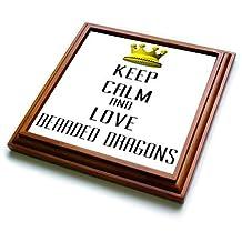 trv_120943_1 Blonde Designs Gold Crown For Keep Calm Love Animals - Gold Crown Keep Calm And Love Bearded Dragons - Trivets - 8x8 Trivet with 6x6 ceramic tile