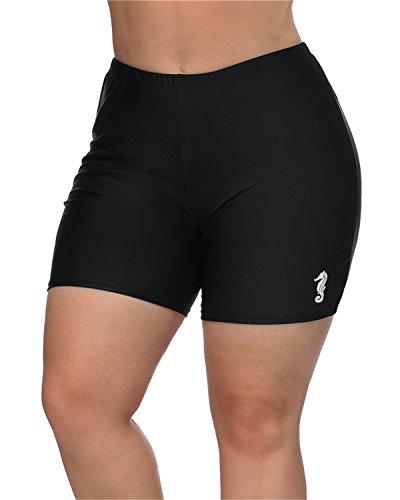 maysoul Women Plus Size Swim Shorts Boyleg Swimwear Shorts Solid Bikini Bottom 2X by maysoul (Image #5)