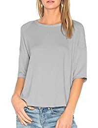9d9399848c9 Womens Cotton T-Shirt 3 4 Sleeves Casual Loose Top Blouse