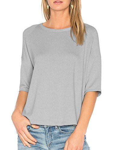 Ally-Magic Womens Half Sleeves Cotton T-shirt Casual Loose Top Blouse C4722 (M, Ash Grey)