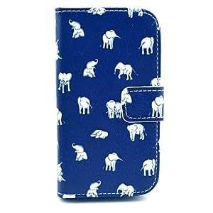 patrón elefante pu caso de la cubierta de cuero indio con soporte para Samsung Galaxy Lite tendencia s7390 / s7392