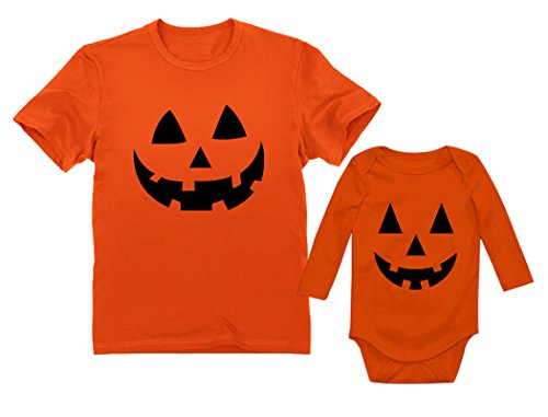 Jack O' Lantern Pumpkin Dad & Baby Matching Set Funny Halloween Costume Shirts Dad Orange Small/Baby Orange 18M (12-18M) ()