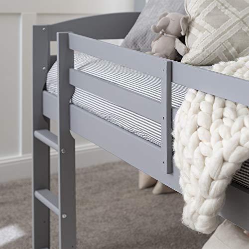 Walker Edison Furniture Company Classic Wood Twin Low Loft Bunk Kids Bed Bedroom with Guard Rail and Ladder Easy Assembly, Grey
