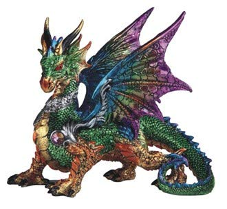 GSC Green Chromatic Dragon Statue Rainbow Iridescent Poly Stone Resin Collectible Figurine 10 Inches Tall 71727