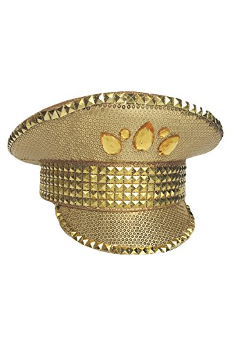 Golden Performace Cap Bright Police Captain Pilot Hat -