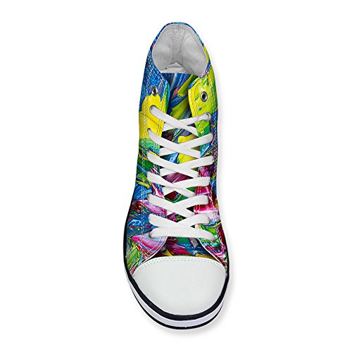FOR U DESIGNS Stylish Womens Classics High-Top Canvas Shoes Flat Sneakers Lace up Blue E9q8iA