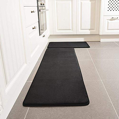 Kitchen Rug Set, LEEVAN Memory Foam Kitchen Comfort Mat Super Soft Rug Microfiber Flannel Area Runner Rugs Non-slip Backing Washable Bathroom Rug Set of 2 Pcs (15''x23''+15''x47'', ()