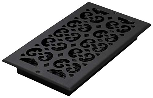 Decor Grates ST612W 6-Inch by 12-Inch Painted Wall Register, Black - Nickel Brushed Register Wall