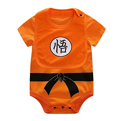 Dragon Ball Goku Baby Costume Newborn Infant Boy Clothes Romper Bodysuit Outfits (1-3 Months) -