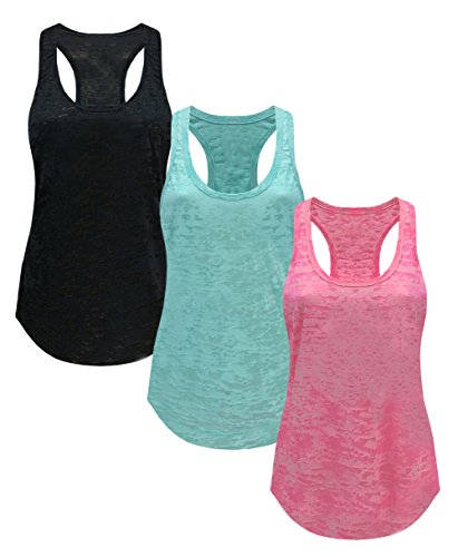Tough Cookie's Women's Plain Burnout Racerback Workout Tank Tops (Medium - LF, Black/Mint/Neon - Boxy Sheer