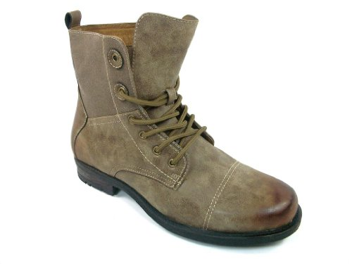Polar Fox Mens Brown Lace Up Military Inspired Boots