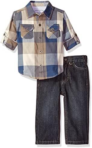Calvin Klein Baby Boys' Shirt With Two Pockets and Jeans Pants Set