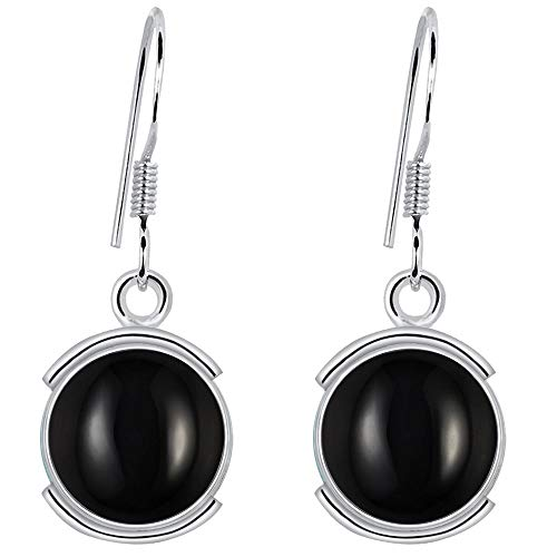 Orchid Jewelry 7 4/5 Carat Black Onyx 925 Sterling Silver Dangle Earrings for Womens ()