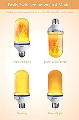 YANGMAN-L LED Flame Effect Light Bulb,3 Lighting Modes Colored Flame Light Bulbs,E26 or E27 Base Christmas Decorations Flame Light Bulbs for Indoor Outdoor Hotel Bar Party Decor,E27,2 Pack
