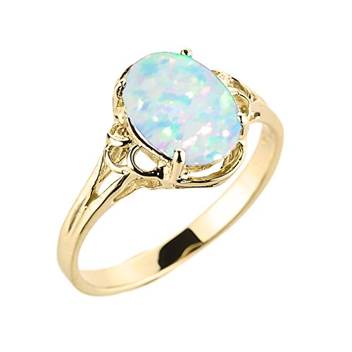(Elegant 10k Yellow Gold Oval October Birthstone Solitaire Ring (Size 6.75))