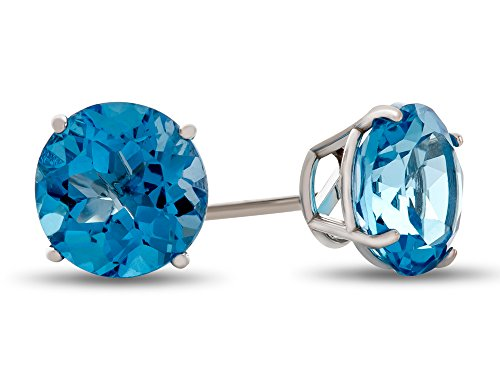 - Finejewelers 14k White Gold 7mm Round Swiss Blue Topaz Post-With-Friction-Back Stud Earrings