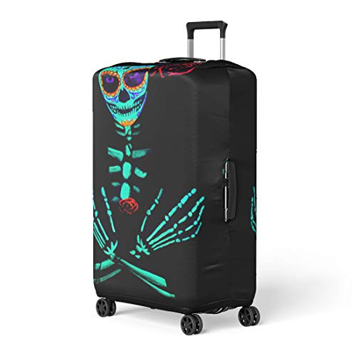 Pinbeam Luggage Cover Young Girl Santa Muerte Saint Death Sugar Skull Travel Suitcase Cover Protector Baggage Case Fits 18-22 inches -