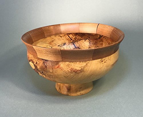 2207 Spalted Box Elder Pedestal Bowl With Segmented Cherry - Inlay Pedestal
