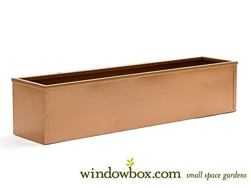 60'' Copper-Tone Metal Window Box Liner by Windowbox