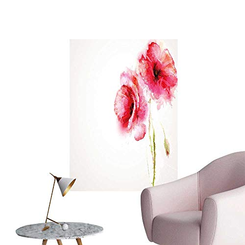 Vinyl Wall Stickers Seas Vivid Florals Red Poppi Print Hot Pink Light Green and White Perfectly Decorated,28