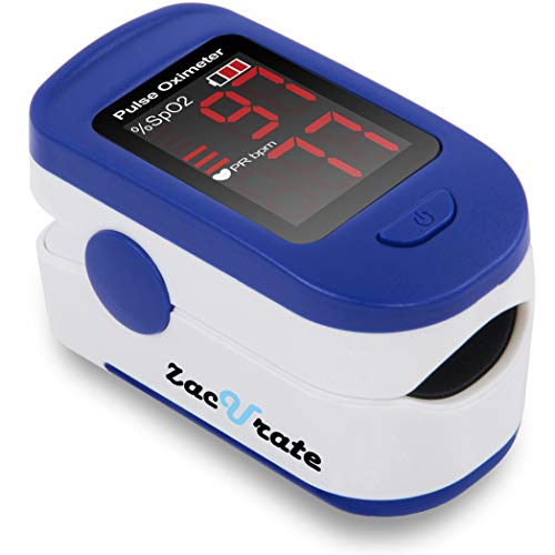 Zacurate 500BL Fingertip Pulse Oximeter Blood Oxygen Saturation Monitor with Batteries and Lanyard Included (Navy Blue) (Digital Pulse Analyzer)