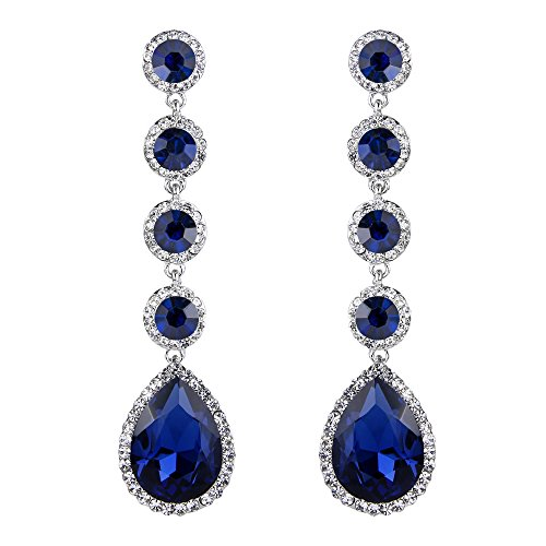 BriLove Wedding Bridal Dangle Earrings for Women Elegant Crystal Teardrop Chandelier Earrings Navy Blue Sapphire Color Silver-Tone