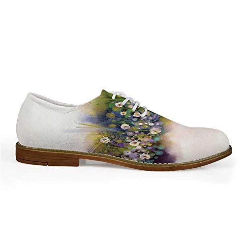 Watercolor Flower Home Decor Stylish Leather Shoes,Vogue Display Wisteria Violets Wreath Fragrant Plants Herbs Artsy for Men,US 8