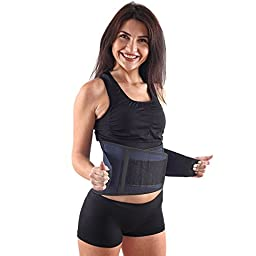 Ultra Supportive Lower Back Brace - 3 Level Adjustable Belt for Perfect Fit - Keep Your Spine Safe and Straight - Relieve Pains and Aches - 6 Plastic Lumbar Supports!