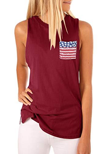 Niitawm Womens 4th of July Tank Tops Workout Scoop Neck Sleeveless Blouses Draped Vest Pocket Cami Summer Top