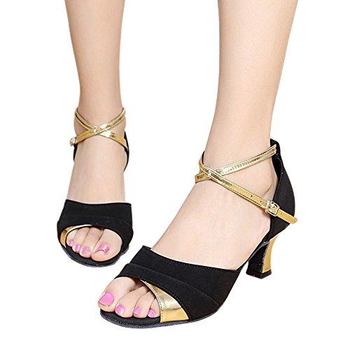 da Satin Ballo Modern Toe Donna Oro Nero Alto KINDOYO Latino Tacco in Fibbia Metallo Peep Scarpe vBxwqP5S