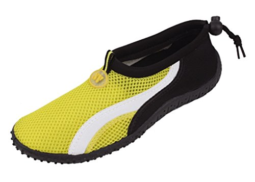 La Vague Des Femmes Chaussures Deau Aqua Chaussettes Piscine Plage Jaune 2906