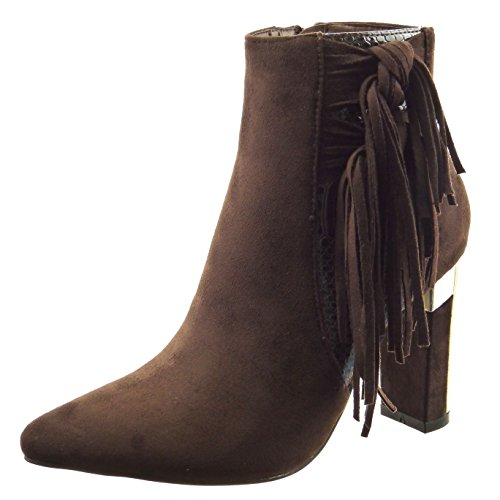 Sopily - Botas De Moda Sapatos De Tornozelo De Mulheres Bi-material De Marrom Cobra Franja Metálico