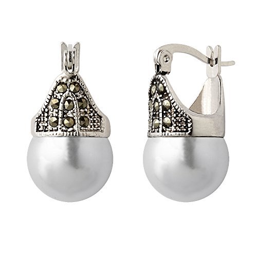 Hematite and Ball Hinged Pierced Earrings (White Faux (12mm White Faux Pearl Earrings)