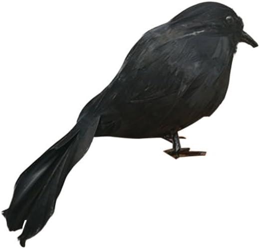 LUOEM Cuervo Realista de Halloween Cuervo realistas Que Buscan la decoración de Halloween Cuervos emplumados Negros Prop de Halloween Prop (Ojos Negros)