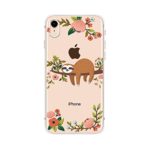 iPhone XR Case,Blingy's New Cute Animal Style Transparent Clear Soft TPU Protective Case Compatible for iPhone XR (Sleeping Sloth)