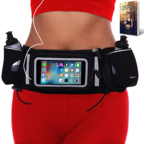 Runtasty [Voted #1 Hydration Belt] Running Fuel Belt for Winners; Includes Accessories - 2 BPA Free Water Bottles & Runners Ebook; Fits Any iPhone; w/Touchscreen Cover; No Bounce Fit; 100% Guarantee!