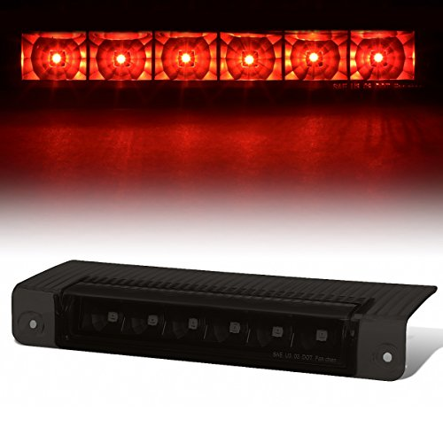 For Chevy Express/GMC Savana High Mount Black Housing Smoke Lens Red LED 3rd Tail Brake Light ()
