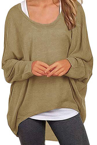 (UGET Women's Sweater Casual Oversized Baggy Off-Shoulder Shirts Batwing Sleeve Pullover Shirts Tops Asia XXL Tan)
