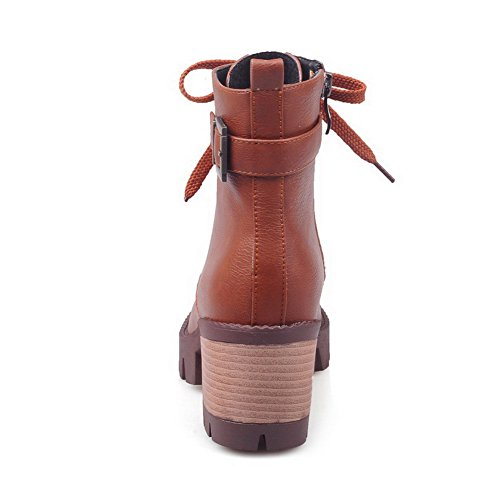 Toe Boots Zipper Kitten Heels Brown Round Solid Closed AmoonyFashion Women's PU 8CqRBH7w