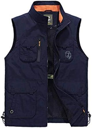 メンズアウトドア春、夏と秋の薄いセクションベスト写真釣り綿マルチポケット中年男性のベストツーリングベスト (色 : Sapphire color, サイズ さいず : 5XL)