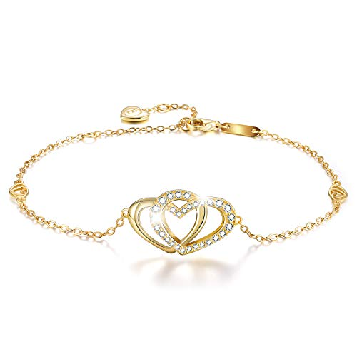 (Esberry✦Gifts for Mother's Day✦18K Gold Plated 925 Sterling Silver 5A Cubic Zirconia CZ Double Love Heart Bracelets for Women and Teen Girls (18K Yellow Gold-Love Heart 1))