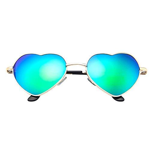 Heart Shape Sunglasses for Mens, Beautyfine Womens Metal Frame Ladies Lolita Love -