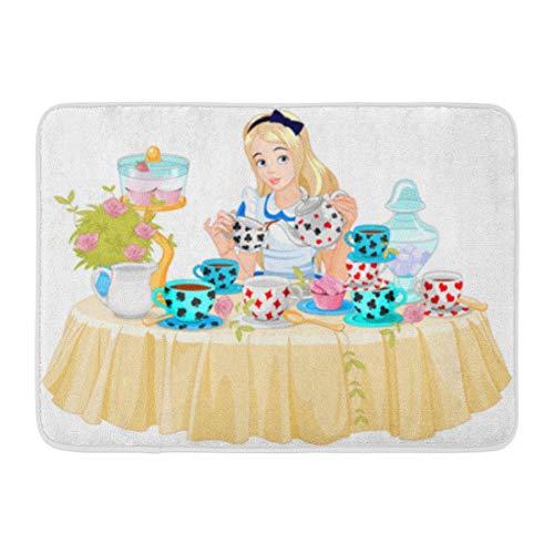 Emvency Bath Mat Cupcake Wonderland Alice Pours Cup Tea from The Kettle Cartoon Cake Bathroom Decor Rug 16