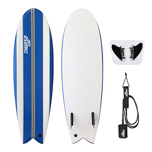 "THURSO SURF Lancer 5'10"" Fish Soft Top Surfboard Package Includes Twin Fins Double Stainless Steel Swivel Leash EPS Core IXPE Deck HDPE Slick Bottom Built in Non Slip Deck Grip"
