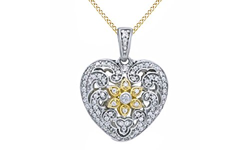 (Jewel Zone US Natural Diamond Vintage-Style Heart Pendant Necklace in 14K White Gold Over Sterling Silver (1/4 Ct))