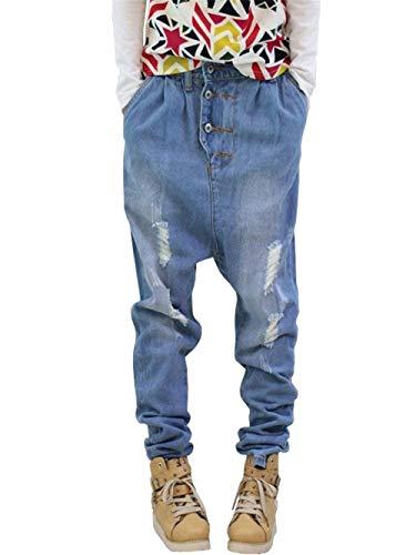 Hip Baggy Casual In Pantaloni Paffuti Blau Classiche Uomo Hop Da Jeans Denim Classici Ragazzi Skateboard 8nXwxtx