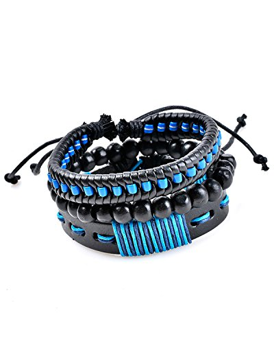 Young & Forever Men's Valentine Tastic Collection Blue Leather Wooden Beads Bracelet Pack Of 3 by Young & Forever