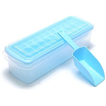 VertHome Ice Cube Tray with Removable Cover & Ice Scoop, Ice Cube Mold Box